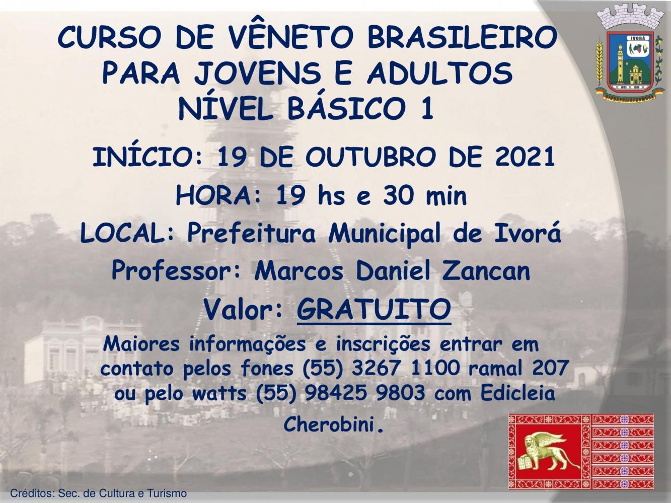 Inscrições abertas para o curso de Vêneto Brasileiro para jovens e adultos