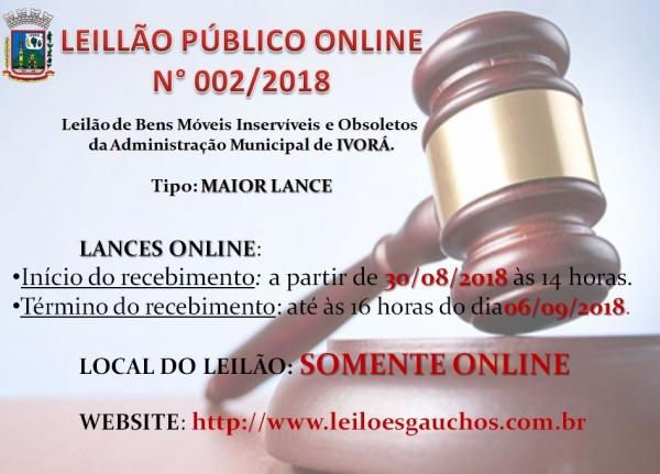 LEILÃO PÚBLICO ONLINE