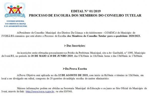 Processo Seletivo para Escolha dos Membros do Conselho Tutelar 2020/2023.