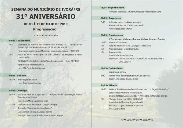 Programação alusiva aos 31 Anos de Emancipação do Município de Ivorá/RS