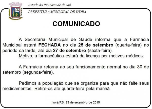 Comunicado da Secretaria Municipal de Saúde
