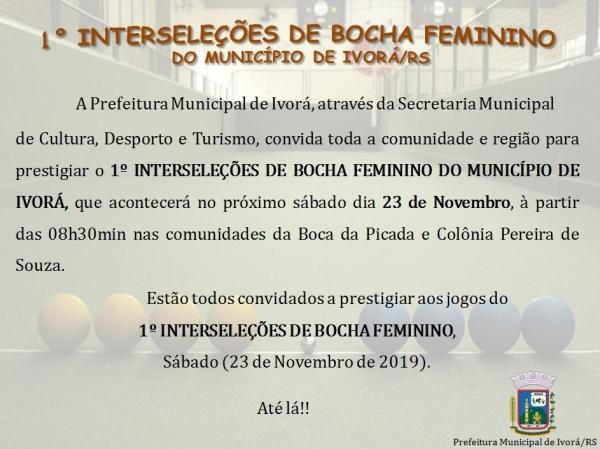 I Interseleções de Bocha Feminino do Município de Ivorá/RS