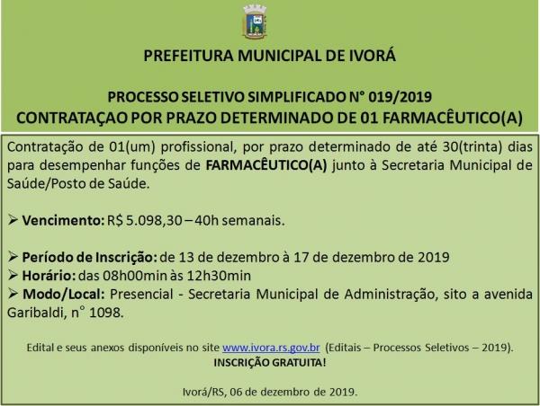 Processo Seletivo Simplificado 019/2019