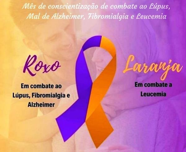 Fevereiro Roxo  -  prevenção contra Alzheimer, Lúpus e Fibromialgia Fevereiro Laranja- alerta para o combate a Leucemia